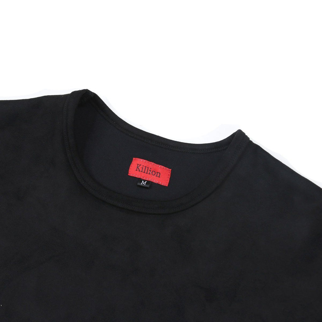 Suede Box Split Tee - Black