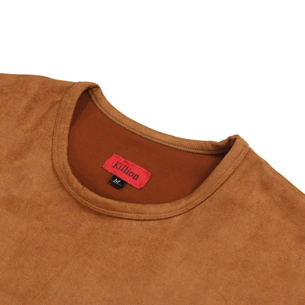 Suede Box Split Tee - Tan
