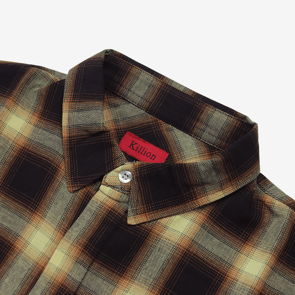 Shadow Flannel Flat Hem LS Buttonup - Wheat/Brown