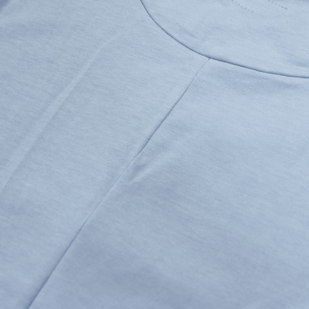 Premium Scallop Extended Tee - Light Blue