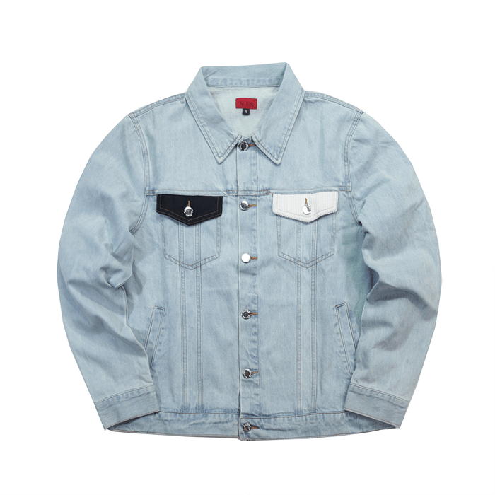 Contrast Denim Jacket - Stonewash Blue