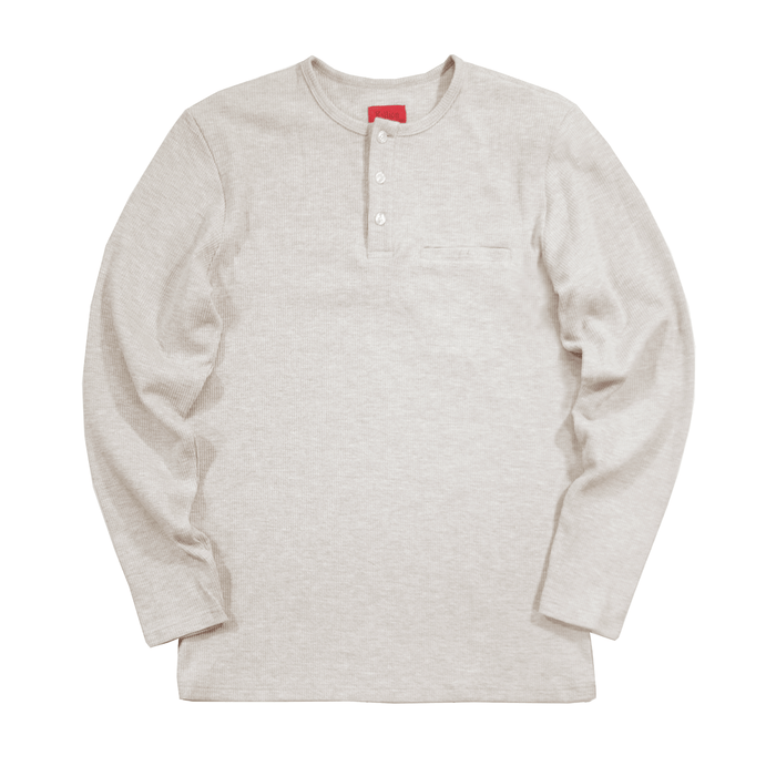Henley Waffle Knit Long Sleeve - Natural