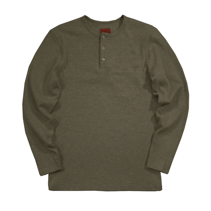 (12.12.19 Release) Henley Waffle Knit Long Sleeve - Olive