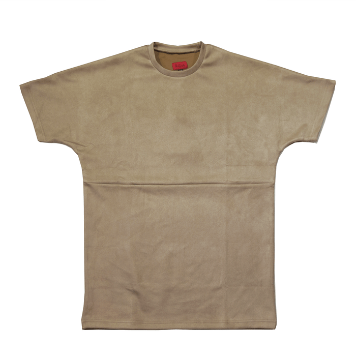 Suede Box Split Tee - Sand