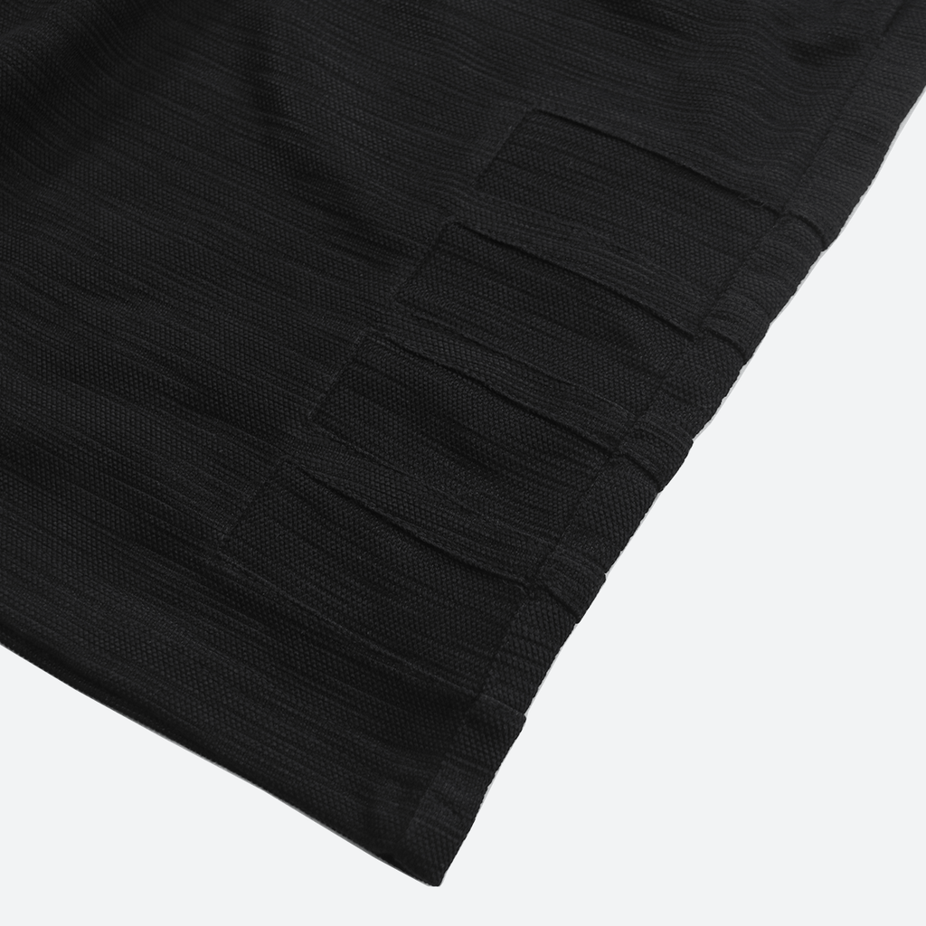 Wide Block Tech Shorts - Black