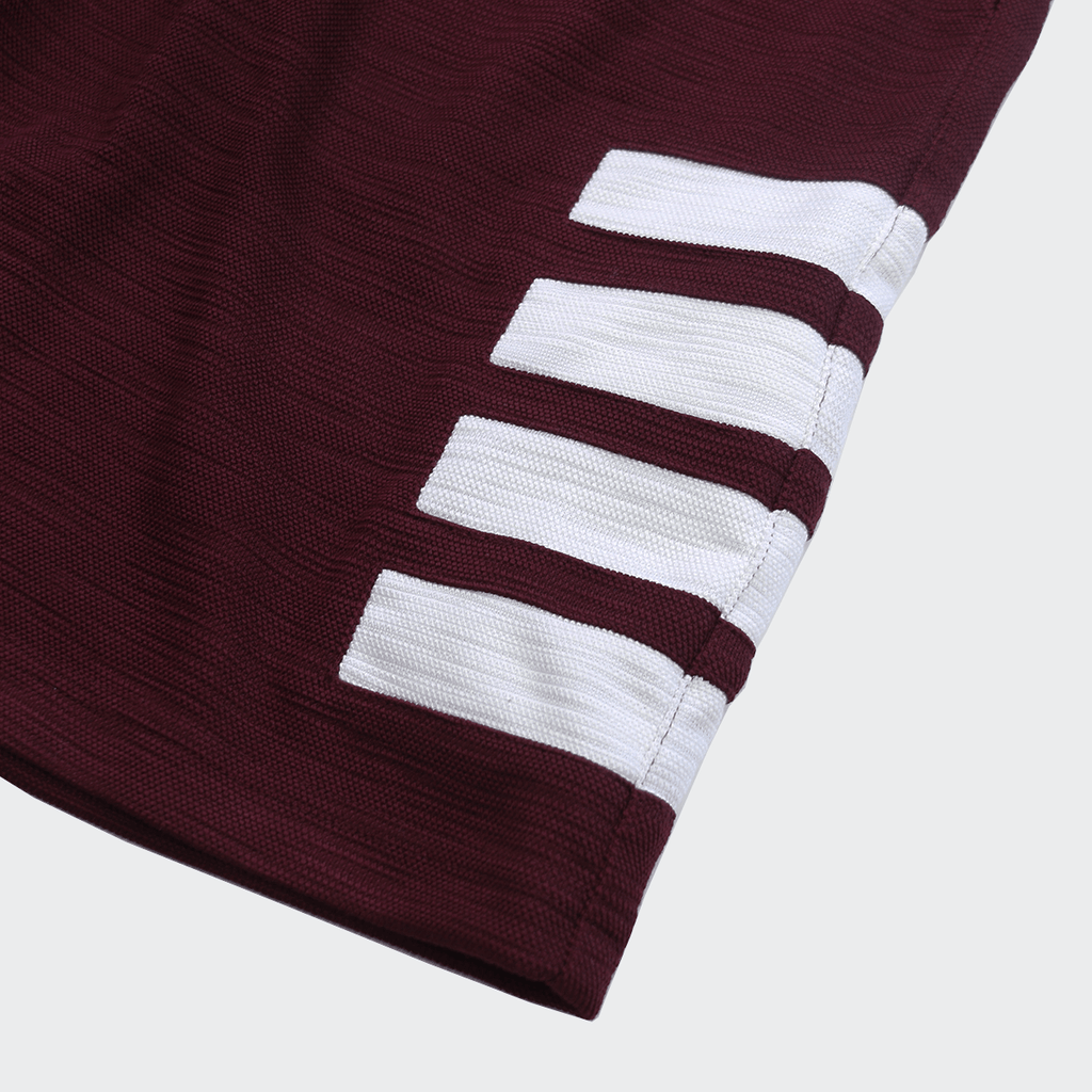 Wide Block Tech Shorts - Maroon