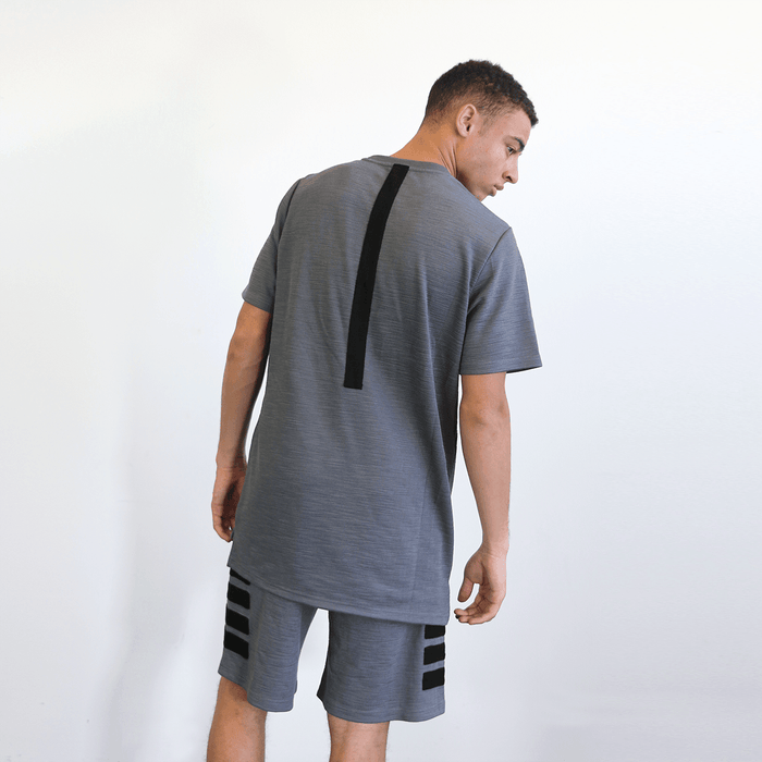 Back Stripe Tech Tee - Grey