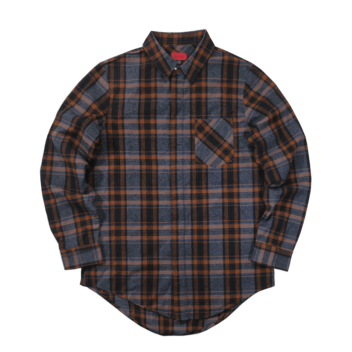 Stonewall LS Buttonup - Light Navy/Navy/Rust