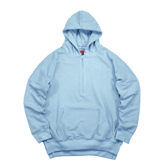 Side Cut Quarter Zip Hoodie - Light Blue (04.28.21 Release)