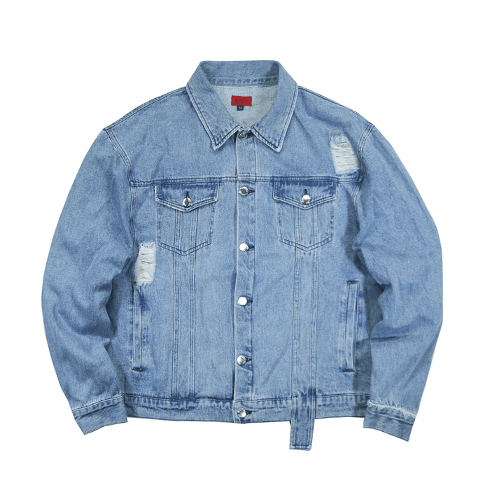 Oversized Distressed Denim Jacket - Stonewash Blue