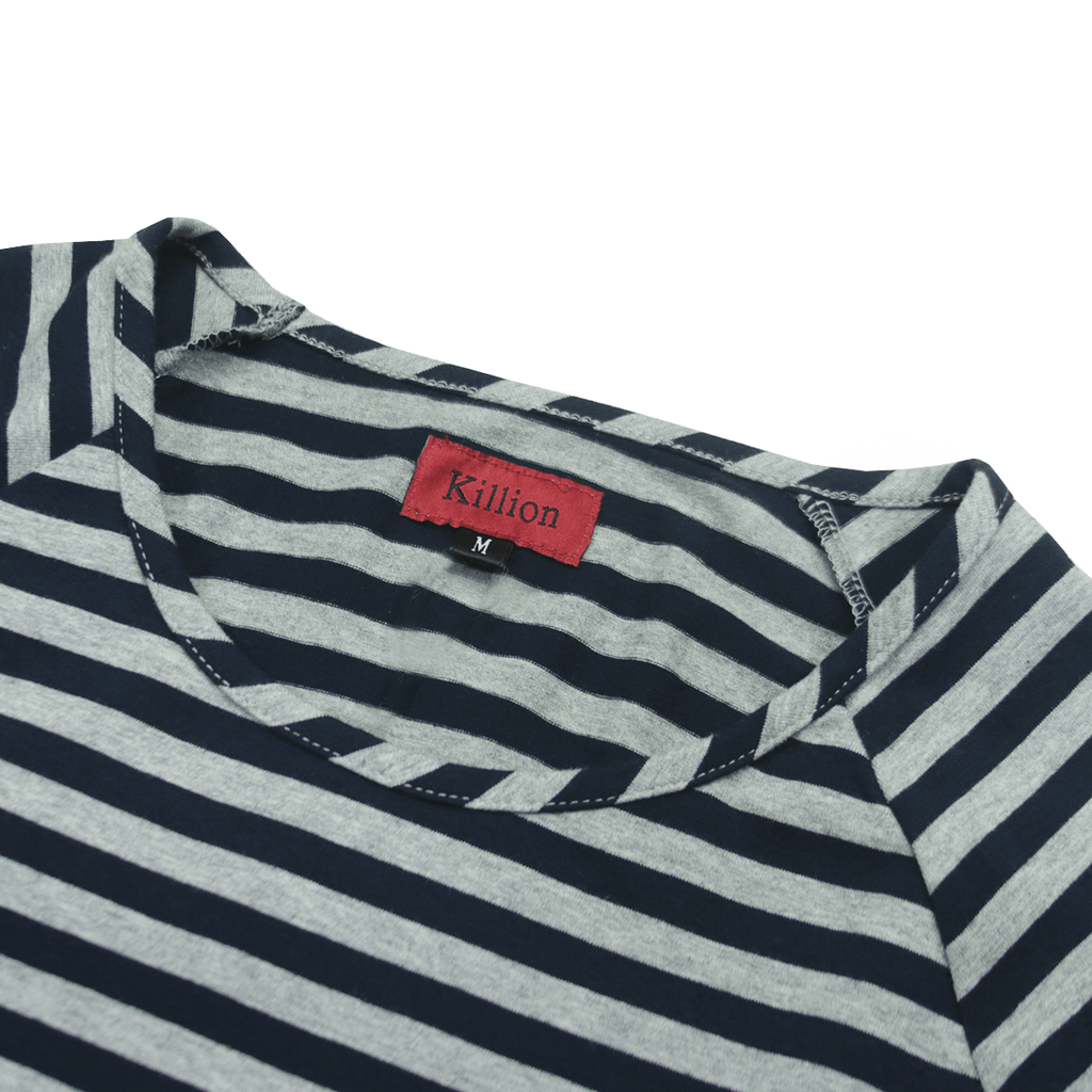 Spandex Striped Scoop Shirt - Heather Grey/Navy