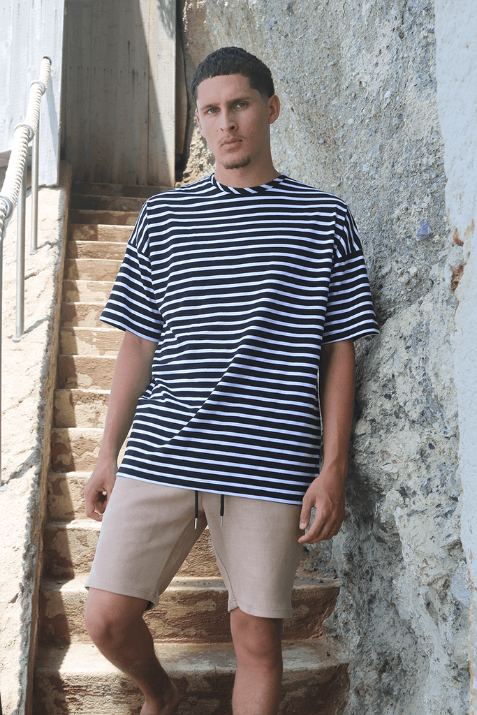 Essential Striped Dropped Shoulder Box Tee - Black/White (08.15 RELEASE)
