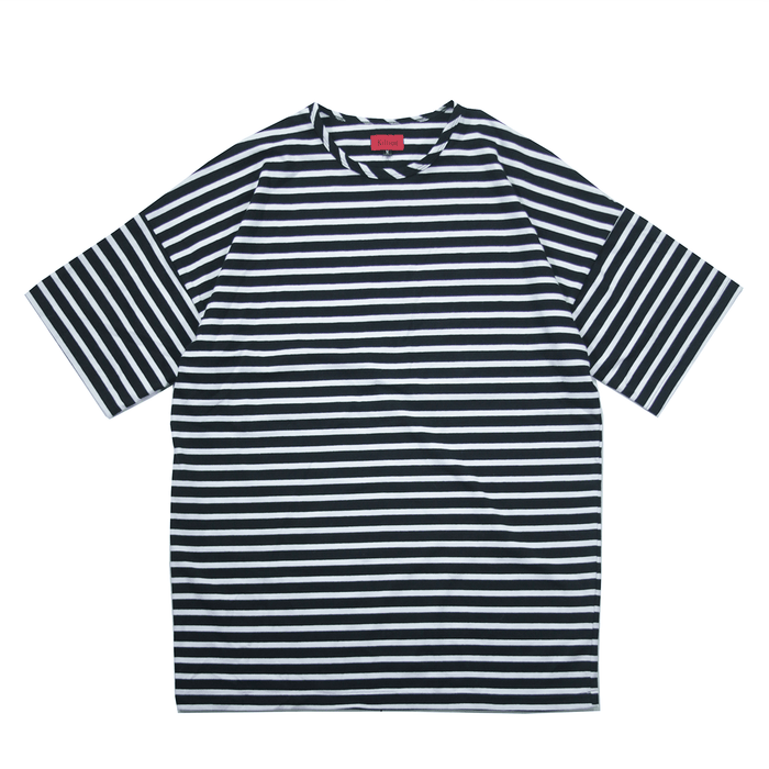 Essential Striped Dropped Shoulder Box Tee - Black/White