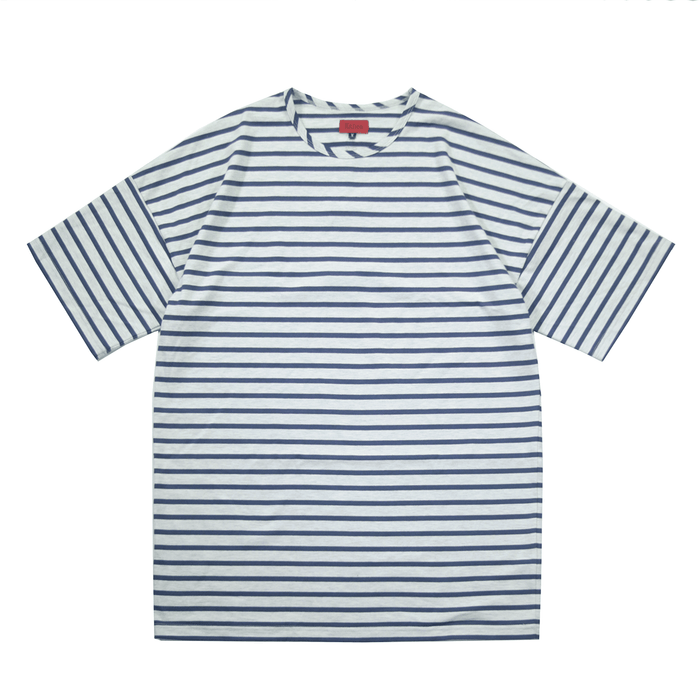 Essential Striped Dropped Shoulder Box Tee - Cream/Light Navy
