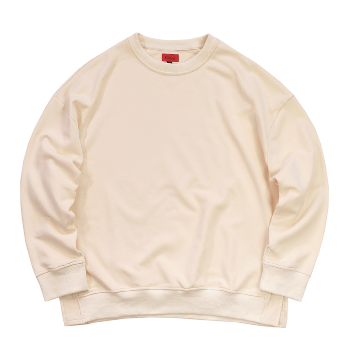 (12.09.19 Release ) Oversized Side Cut Crewneck - Cream
