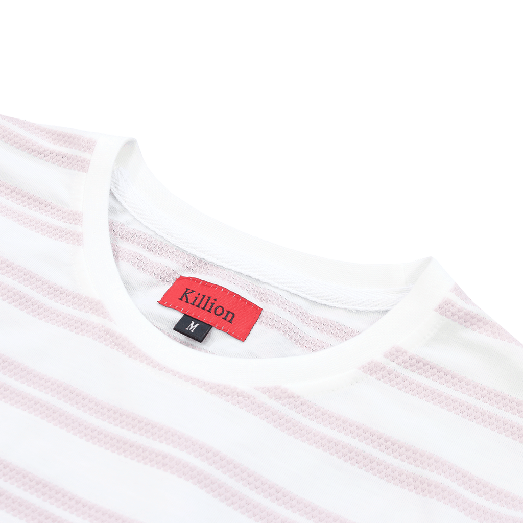Boucle Stripe S/S Tee - White/Rose