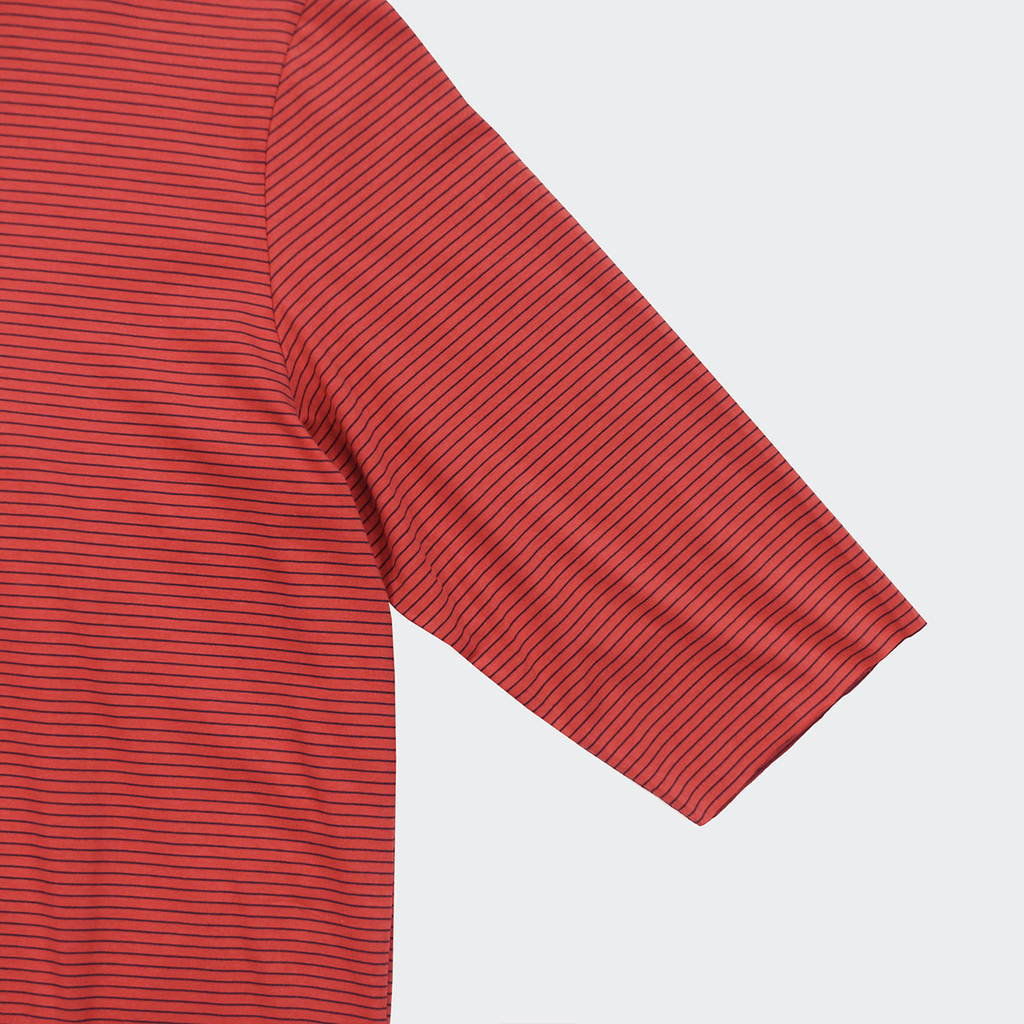 Thin Striped 3/4 Sleeve Scoop Tee - Brick/Black