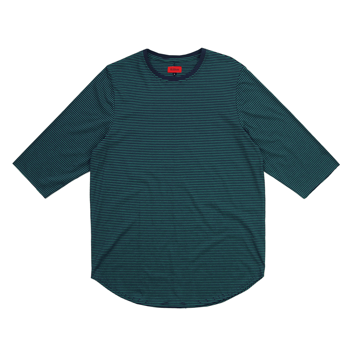 Thin Striped 3/4 Sleeve Scoop Tee - Navy/Green