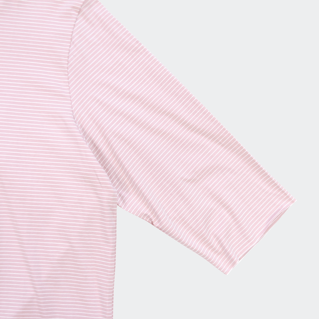 Thin Striped 3/4 Sleeve Scoop Tee - Peach/White