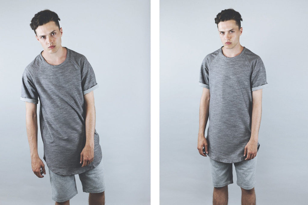 Brushed Melange Extended Scoop Shirt - Charcoal