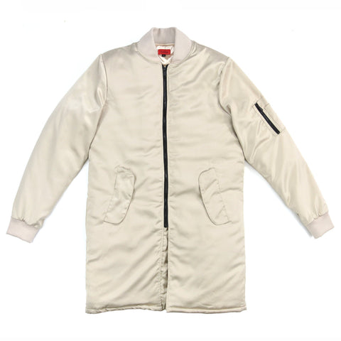 Long Satin MA-1 Bomber - Ivory