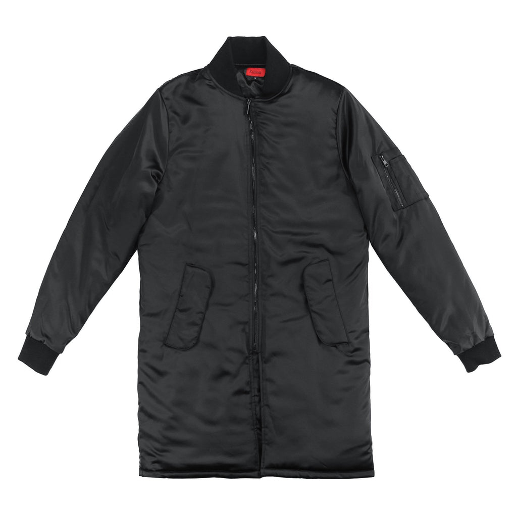 Long Satin MA-1 Bomber - Black
