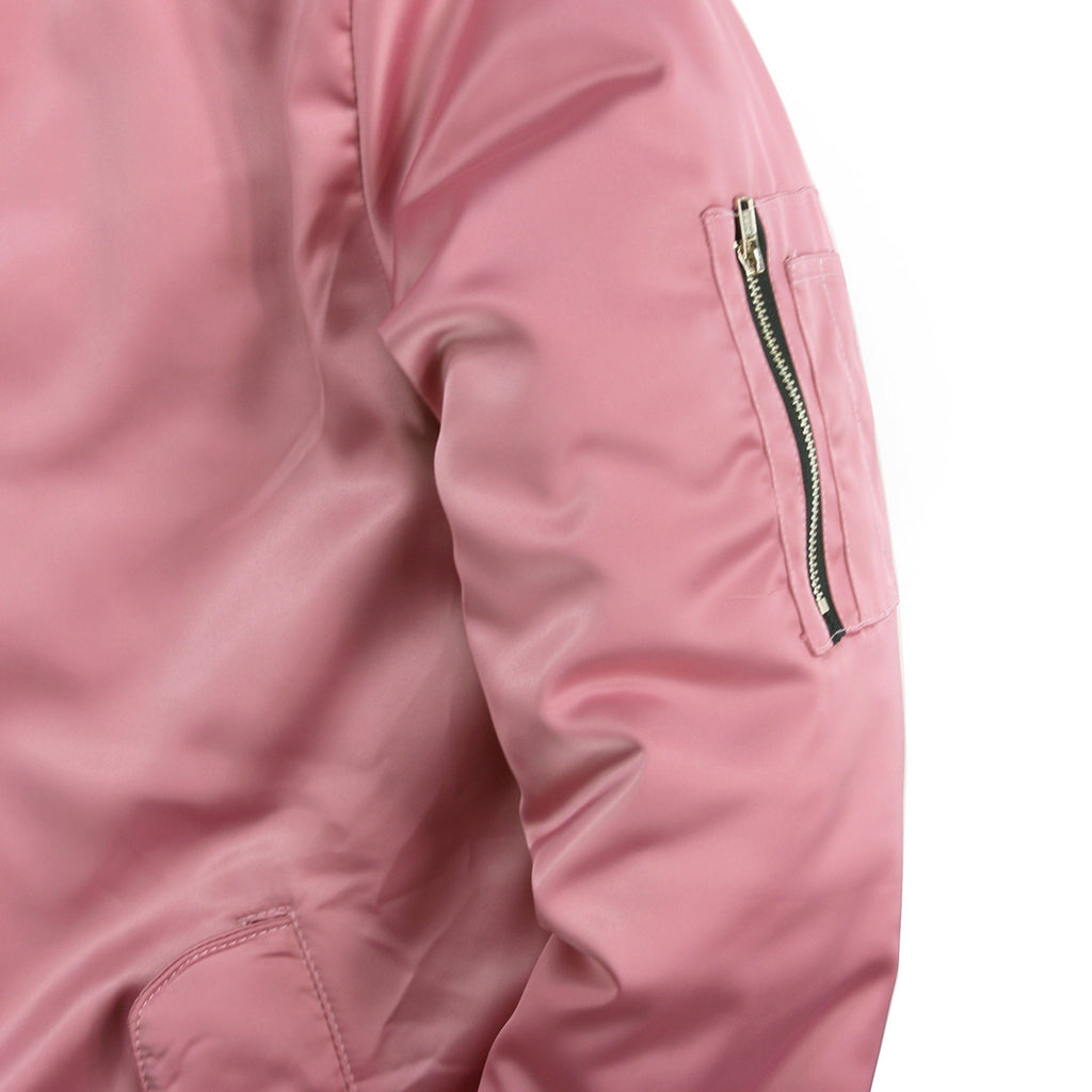 Long Satin MA-1 Bomber - Pink