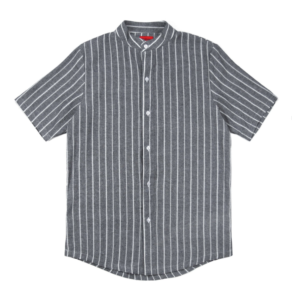 Grandad Vertical Striped SS Buttonup - Gray