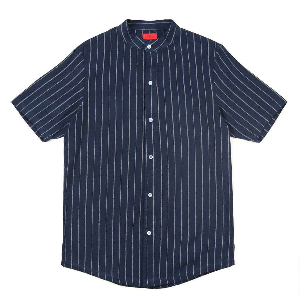 Grandad Vertical Striped SS Buttonup - Navy