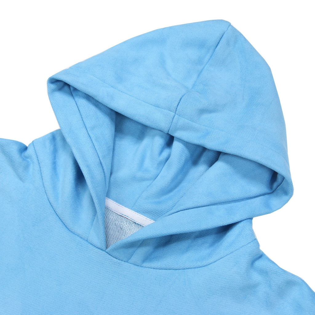 Brushed Terry Suede SS Hoodie - Blue