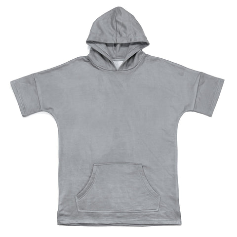 Brushed Terry Suede SS Hoodie - Gray