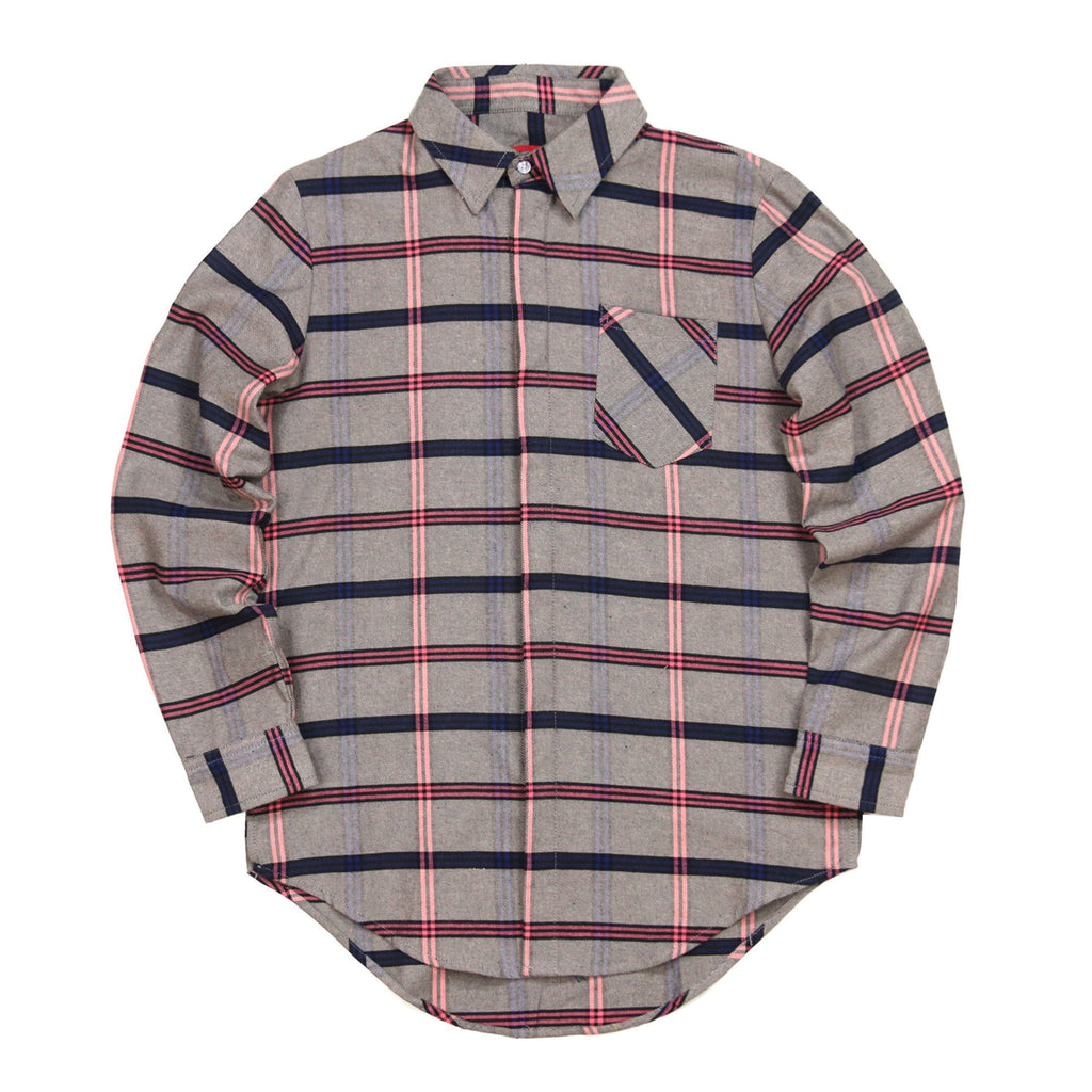 Rosen Flannel LS Buttonup - (Grey/Pink)
