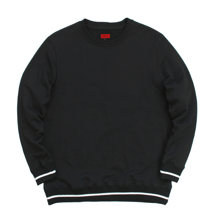 Classic Striped Ribbed Crewneck - Black