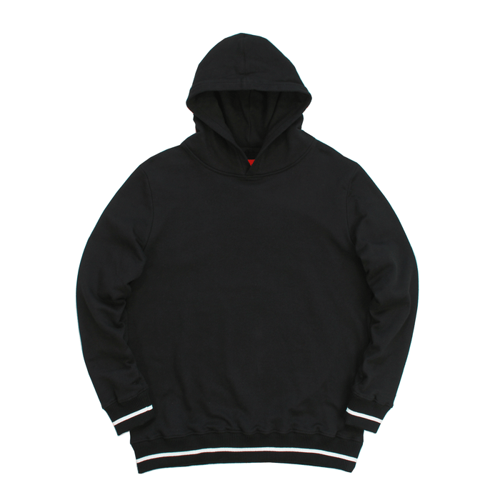 Classic Striped Ribbed Hoodie - Black