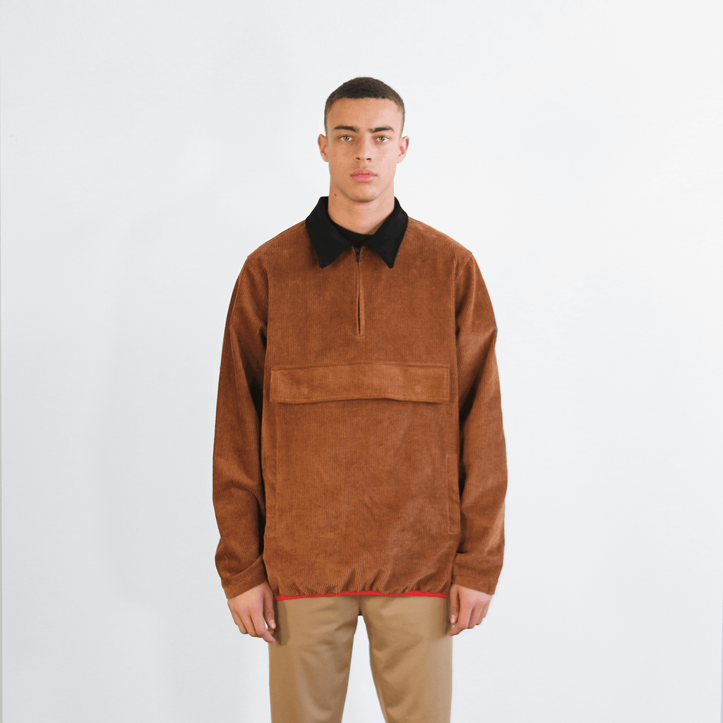 Corduroy Pullover Jacket - Brown