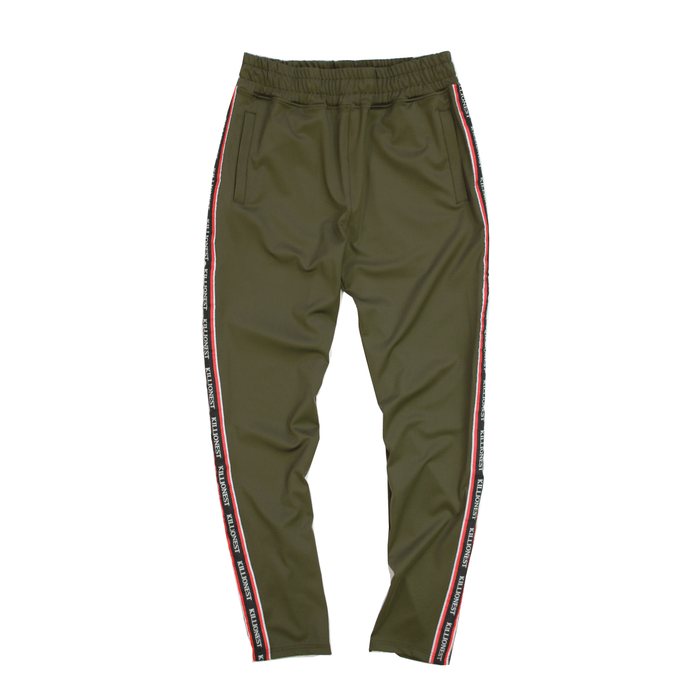 Ribboned Track Pants - Olive
