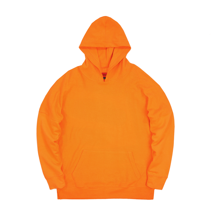 Reversed Terry  Draped Hoodie - Orange