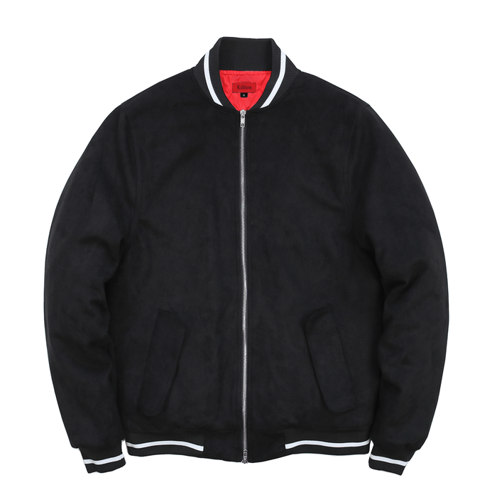 Striped Rib Suede Bomber Jacket - Black