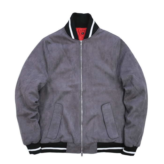 Striped Rib Suede Bomber Jacket - Charcoal