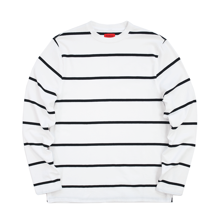 Wide Striped Side Zip L/S - White