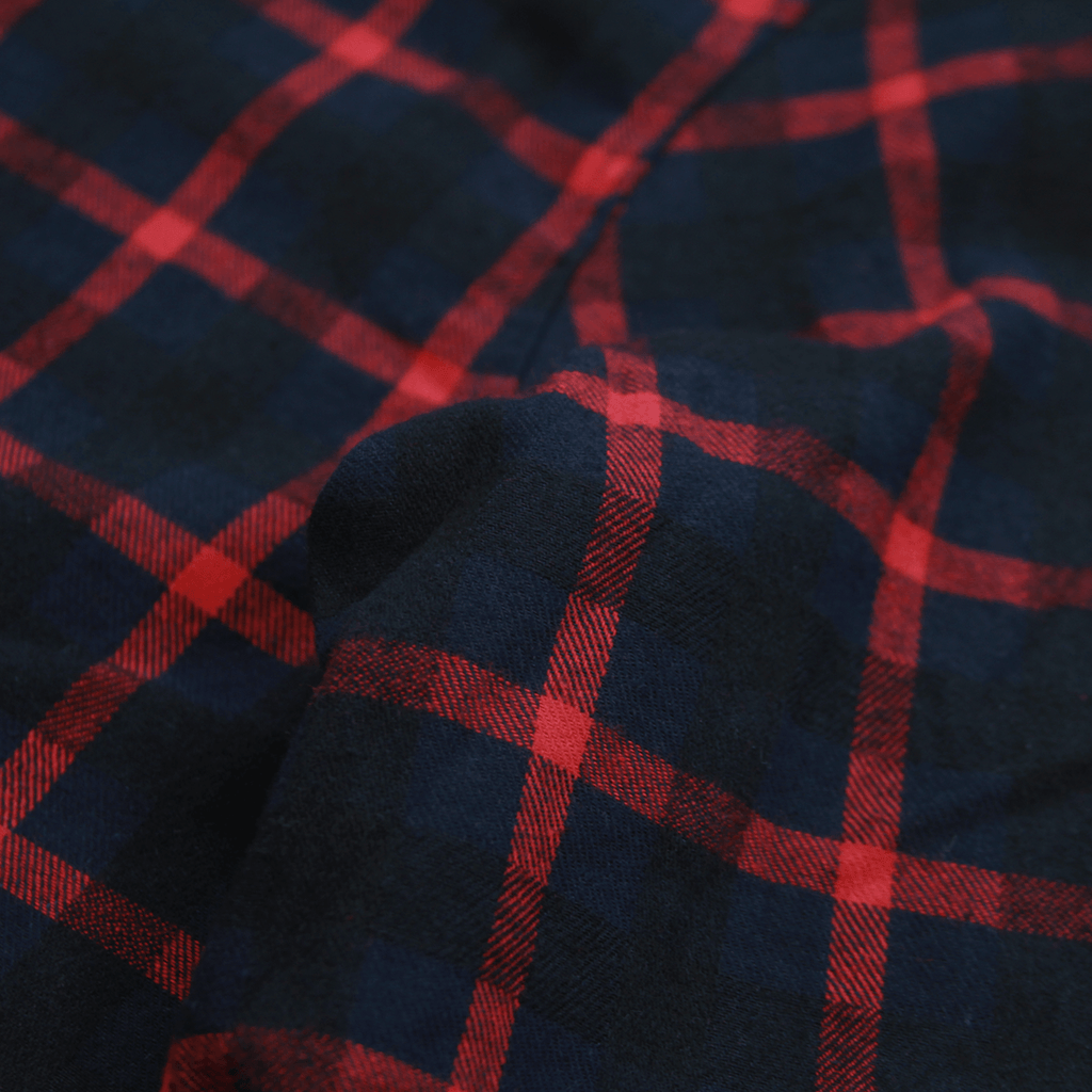 Grid Flannel Button Up - Navy/ Red