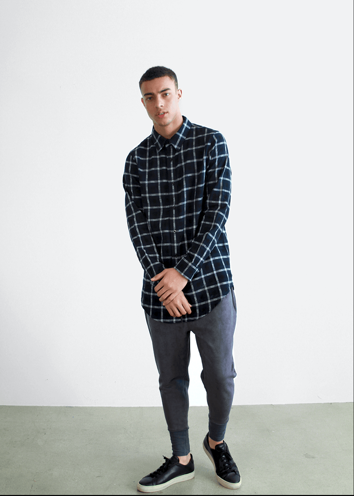 Grid Flannel Button Up - Navy/ White