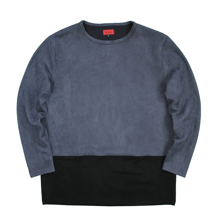 Suede Block Crewneck - Grey