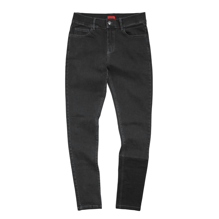 Calf Block Denim Jeans - Dark Grey / Pure Black