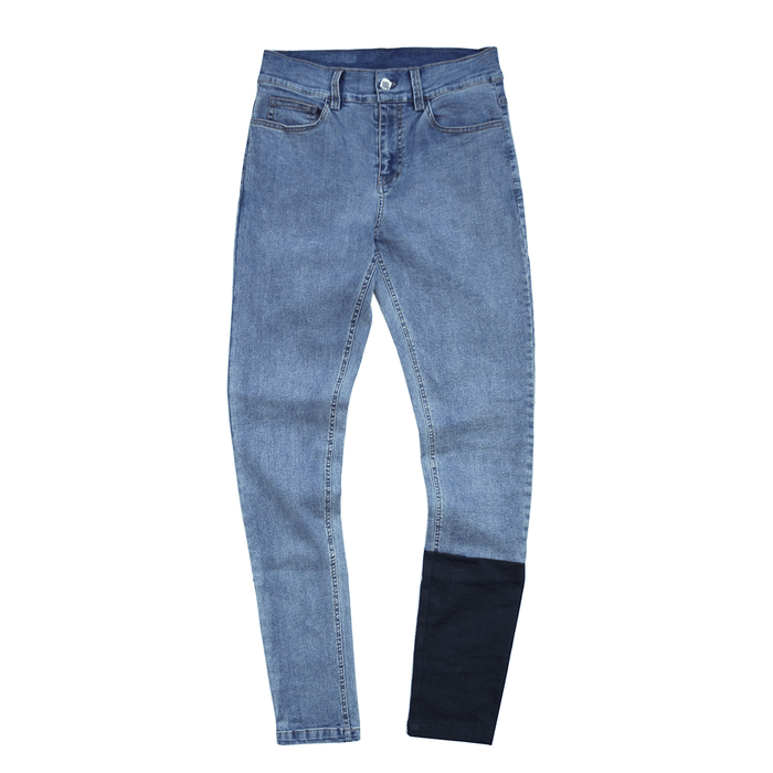 Calf Block Denim Jeans - Medium Blue / Dark Blue