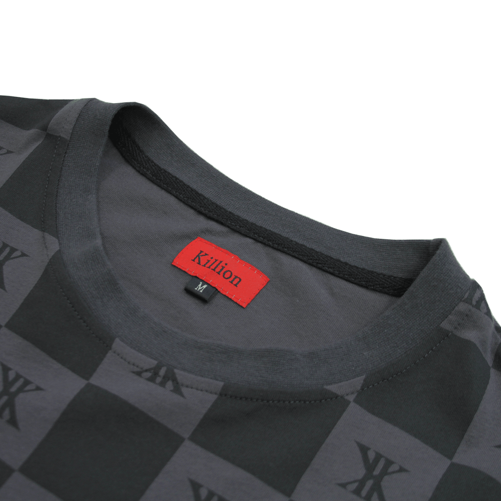 Checkered Boxy Tee - Charcoal