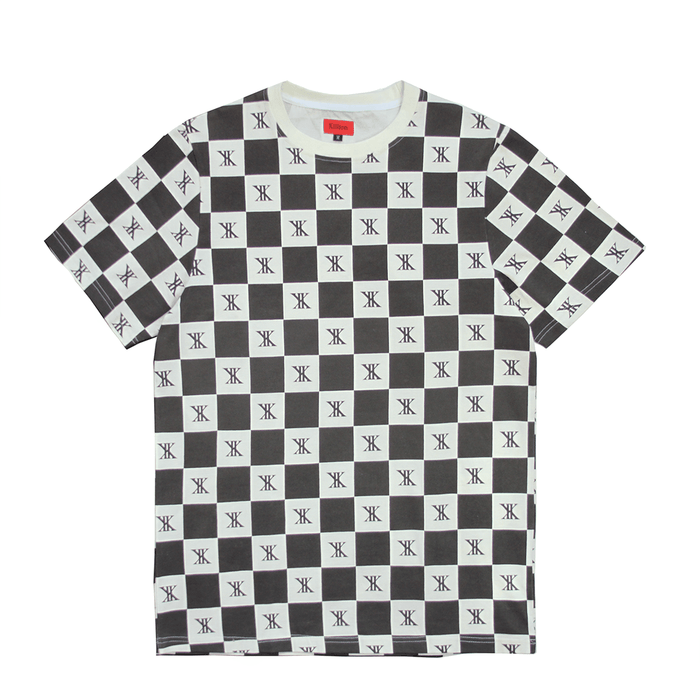 Checkered Boxy Tee - Cream