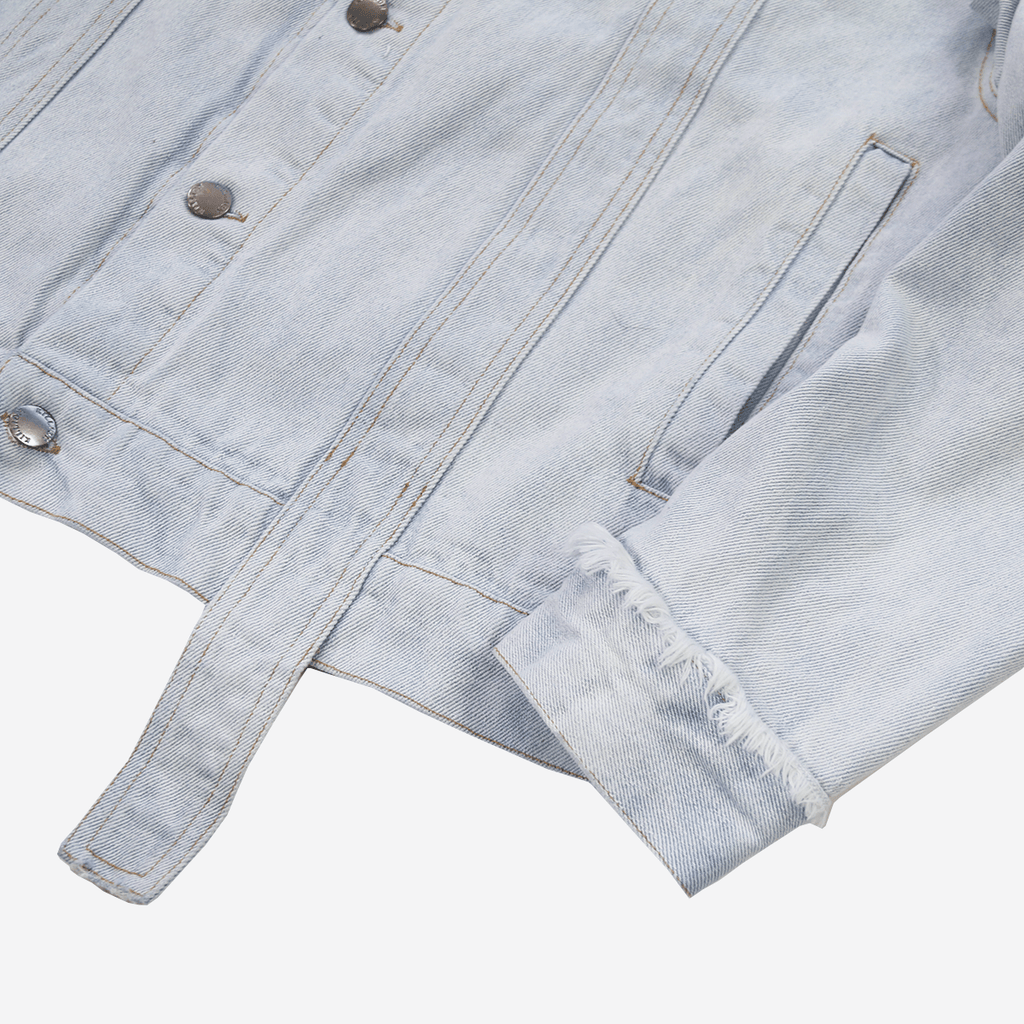 Oversized Distressed Denim Jacket - Bleach Blue