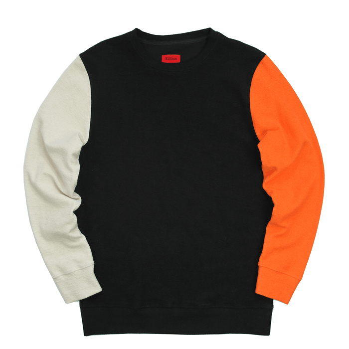 Block Sleeve Reverse Terry Sweater - Black