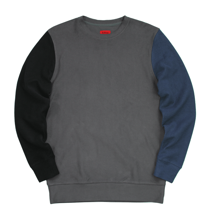 Block Sleeve Reverse Terry Sweater - Charcoal